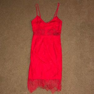 Missguided red lace party dress
